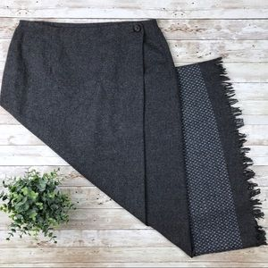 Tribal Skirts - TRIBAL Grey Wool Blend Wrap Skirt with Fringe Hem